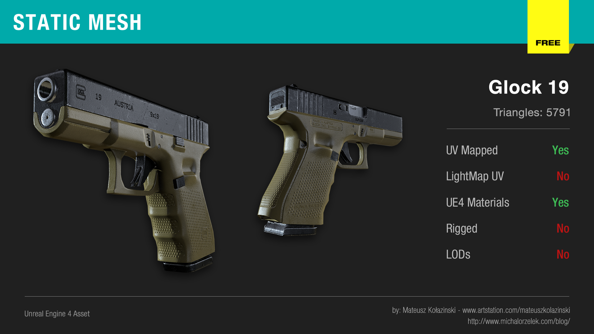 Static Mesh – Glock 19 | Unreal Engine 4 blog